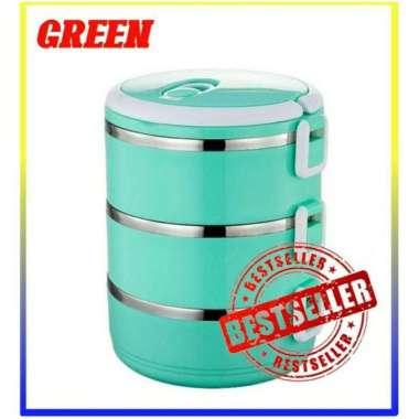 harga Rantang Susun Stainless Glossy Lunch Box Set Perlengkapan Rumah Tangga Perabotan Rantang Stainless Hijau Blibli.com