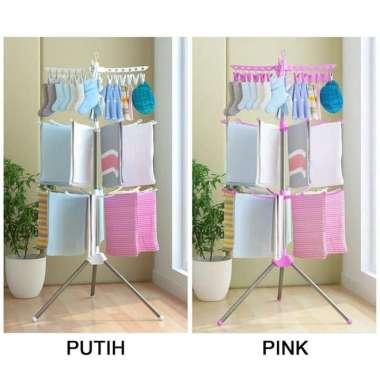 harga JEMURAN PAKAIAN 3 SUSUN - JEMURAN BAJU BAYI - TRIPOD HANGER - Putih Multicolor Blibli.com
