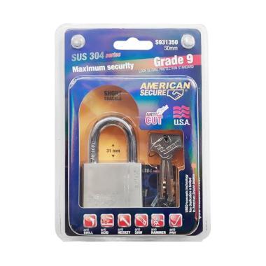 American Secure SUS 304 Series Grade 9 Gembok Pendek [50 mm]