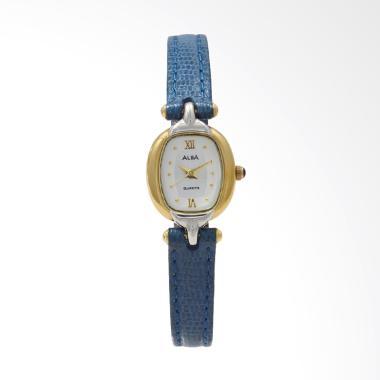 ALBA ATQN98 Leather Strap Jam Tangan Wanita - Blue Gold Silver