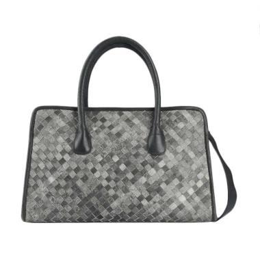 WOVLEA Bag Kotak Anyam Hand Bag - Black Grey