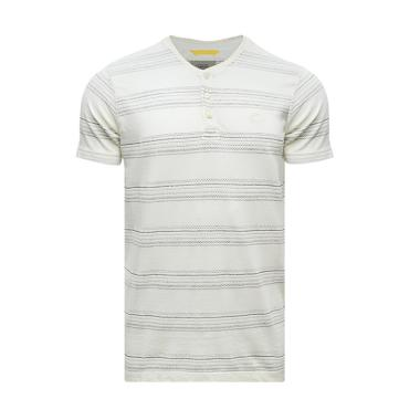 Camel Active Jacquard T-Shirt Pria - Off White