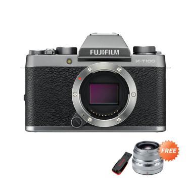 harga Fujifilm X-T100 Body Only Kamera Mirrorless + Free Fujinon XF 35mm f2 - Silver + Free Sandisk 16GB + Free SDHC Extreme 32GB by claim Blibli.com
