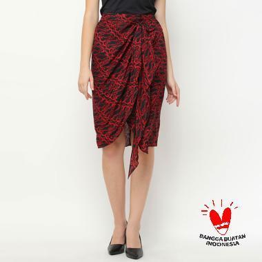 Benangsari Deena Skirt Rok Lilit Batik Wanita - Black Red