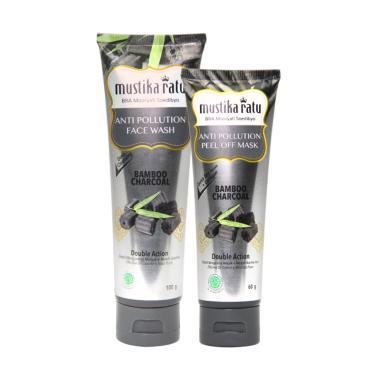 Mustika Ratu Anti Pollution Bamboo Charcoal Face Wash [100 g] & Peel Off Mask