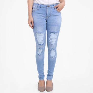 Brielle Jeans 1924 Ripped Skinny Celana Jeans Wanita - Biru Muda