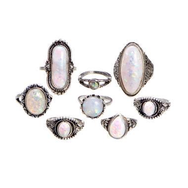 harga ExtremeDeals Sterling Silver Batu Permata Opal Api Alami Set Cincin Wanita [8 pcs] Blibli.com
