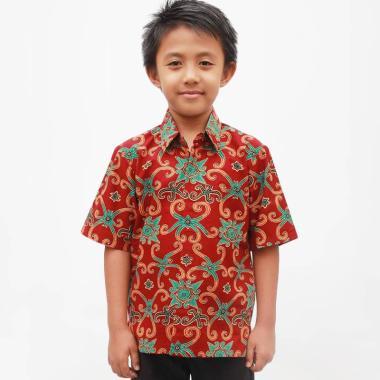 Aamir Kinsler Kemeja Batik Anak Laki Laki Maroon Ba21