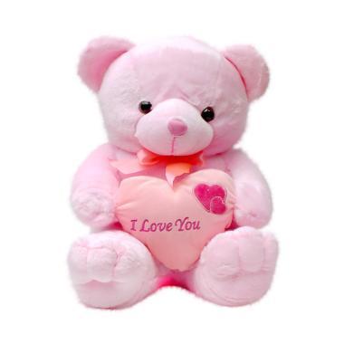 Galeri Boneka Teddy Bear Love - Pink  Size Besar  4b1dd44da3
