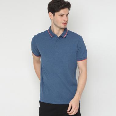 Minarno Striped Collar Polo Shirt Pria ...