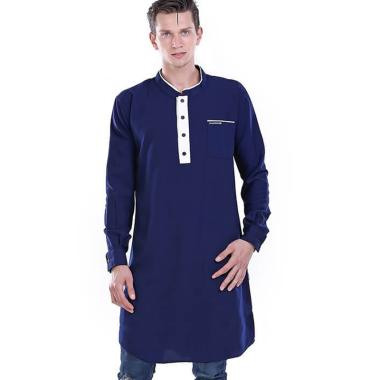 HRCN Kurta Muslim Lengan Panjang Baju Koko Pria - Biru