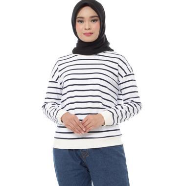 Zahra Signature Sweatshirt Stripe Mira Atasan Muslim Wanita