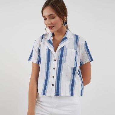 Berrybenka Rafella Crop Shirt Wanita - Blue White