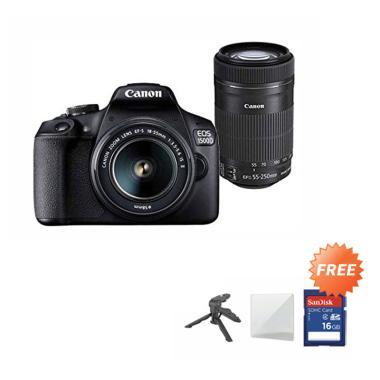 harga Canon EOS 1500D Kit 18-55 IS II + 55-250mm Lens Kamera DSLR - Hitam + Free  SDHC 16GB + Mini Folding + Screenguard Blibli.com