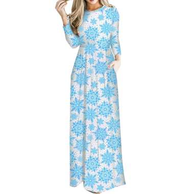 Women Floral Print Long Sleeve O-Neck Tight Waist Maxi Dress Christmas Costume 13#