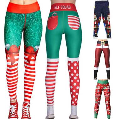 harga Bluelans Christmas 1 Snowman Santa Claus Stripe Print Leggings Stretch Yoga Pants Women Blibli.com