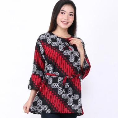 BATIK PUTRA BUNGSU Seno Sapu Jogja Solo Atasan Blouse Batik Wanita M RED BLACK