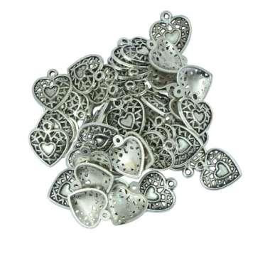 harga OEM Hollow Heart Glue On Blank Base Findings Craft Necklace Tibetan - Silver [50 pcs] Blibli.com