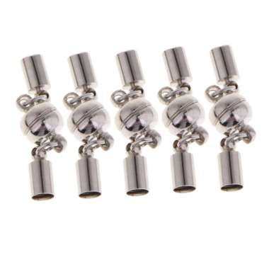 harga OEM Leather Cord Glue in Tube End Cap/ Ball Bead Magnetic Clasp (Fit 5mm Cord) for Jewelry Making Necklace and Bracelet Findings [5 Sets] Blibli.com