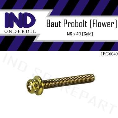 harga IND Onderdil Baut Probolt Flower M6x40 Kunci 8 - Gold Blibli.com