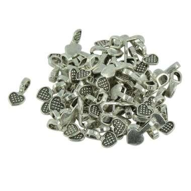 harga 100pcs Silver Glue on Heart Bails Pendant Hanger For Necklaces Pendant Loop Blibli.com