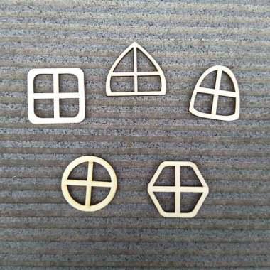 harga 10pcs/ Set Unpainted Wooden Fairy Windows Shape Craft Embellishments Decor - Blibli.com