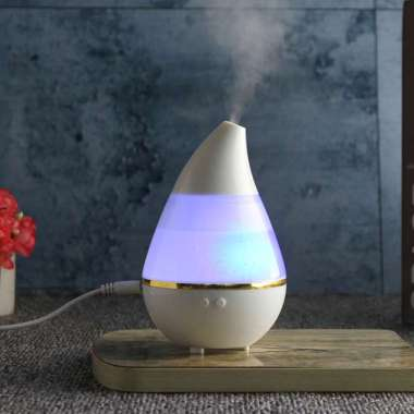 Star Blue LED Lights Water Drop Ultrasonic Diffuser Humidifier [7 Color/ Auto Off] Putih