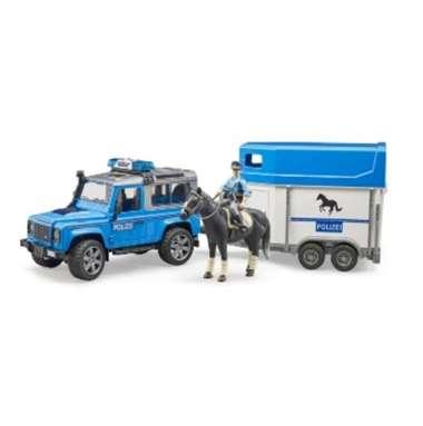 harga Bruder 2588 - Land Rover Defender Police vehicle, horse trailer, horse + policeman Blibli.com