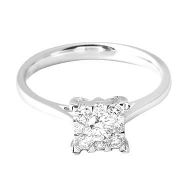 LINO S1703010054 VVS Cincin Berlian Emas Putih [18K]