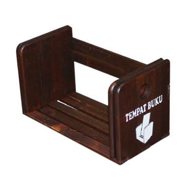 JuTOP Wood Rak Buku - Coklat Tua