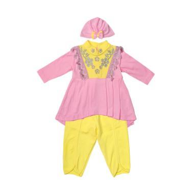 Eyka Setelan Gamis Renda Baby - Pink Yellow
