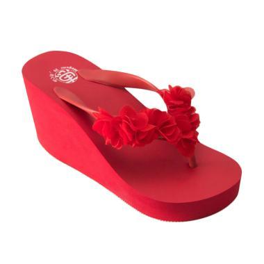 Megumi Cherry Sandal Wedges Wanita - Red