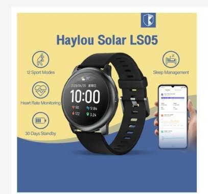 harga Haylou Solar LS05 Smartwatch Sport Metal Heart Rate Sleep Monitor IP68 Waterproof TFT Touch Screen HITAM Blibli.com