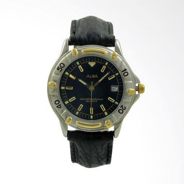 Alba Leather Strap Jam Tangan Pria - Black Silver Gold ATXS92