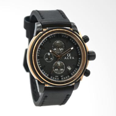 Alfa Leather Strap Jam Tangan Pria  ... egold Plat Hitam 33016MBR