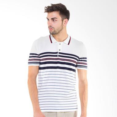Knitwork Custom Striped Polo Shirt - Off White