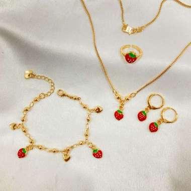 harga Perhiasan Anak 1 Set Motif Stroberi Cat Lapis Emas SPA-29, Kalung-Anting-Gelang-Cincin Blibli.com