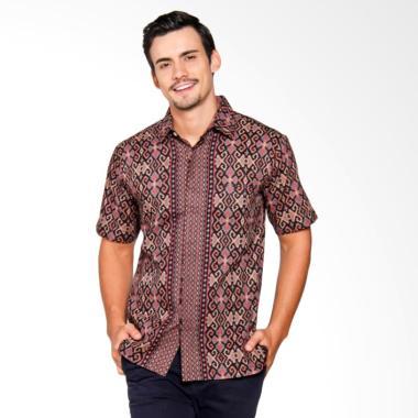 Batik Heritage Songket Adu Manis Slim Fit Baju Batik Pria - Merah