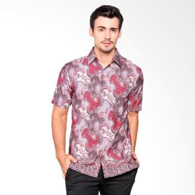 Batik Heritage Katun Daun Slim Fit Baju Batik Pria - Purple