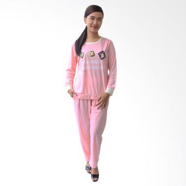 Aily 638 Setelan Baju Tidur Wanita Lengan Panjang - Pink