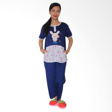 Aily 1056 Celana Panjang Setelan Baju Tidur Wanita - Navy