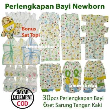 harga Paket 30pc sNewborn Perlengkapan Baju Bayi Celana Bayi Setelan Polos Popok Singlet Sarung Kaki Kado Paket Motif Blibli.com