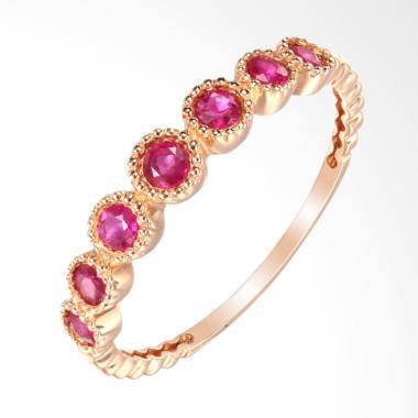 Tiaria The Crown Garnet Rose Gold Perhiasan Emas Cincin [18K]