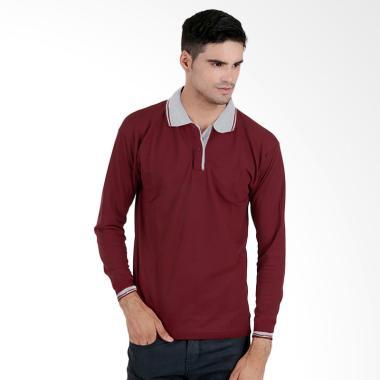 harga Elfs Shop Poloshirt Lacost Lengan Panjang Kerah Baju Atasan Pria - Maroon Blibli.com