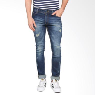 Bronco Slim Fit Ripped Soft Jeans Celana Panjang Pria - Blue 4179