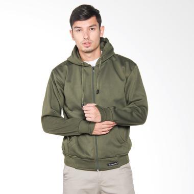 VM Jaket with Hoodie Zipper Jacket Pria - Green Army