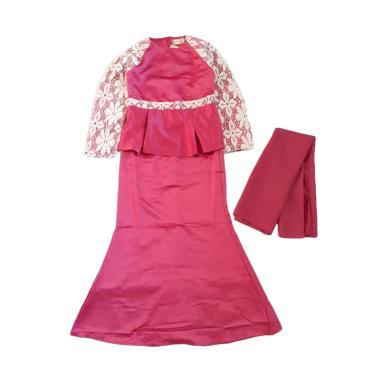 VERINA BABY Embordiery Baju Muslim Gamis Anak dan Hijab - Hot Pink