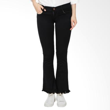 Nuber Rose Ladies Mid Bell Tassel Stretch Celana Jeans Wanita - Black
