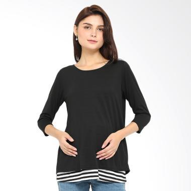 INUJIRUSHI Maternity Stripe Layer T ...  Hamil & Menyusui - Black