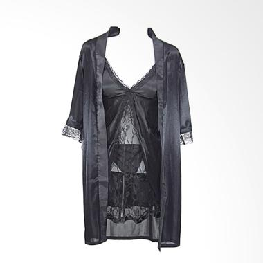 Deoclaus HRS For Bridal Shower Kimo ... ie Set Baju Tidur - Black